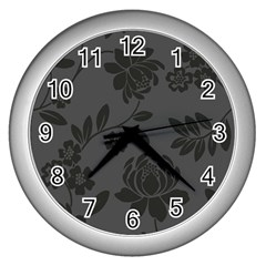 Flower Floral Rose Black Wall Clocks (silver)  by Mariart