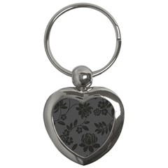 Flower Floral Rose Black Key Chains (heart)  by Mariart