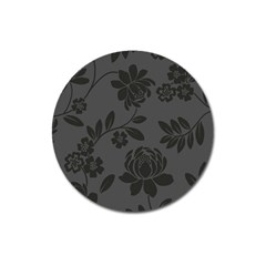 Flower Floral Rose Black Magnet 3  (round) by Mariart