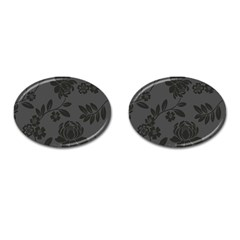 Flower Floral Rose Black Cufflinks (oval) by Mariart