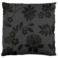 Flower Floral Rose Black Large Cushion Case (one Side) by Mariart