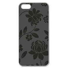 Flower Floral Rose Black Apple Seamless Iphone 5 Case (clear) by Mariart