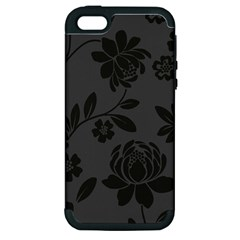 Flower Floral Rose Black Apple Iphone 5 Hardshell Case (pc+silicone) by Mariart