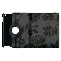 Flower Floral Rose Black Apple Ipad 2 Flip 360 Case by Mariart