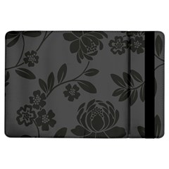 Flower Floral Rose Black Ipad Air Flip by Mariart