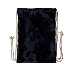Flower Floral Rose Black Drawstring Bag (small)