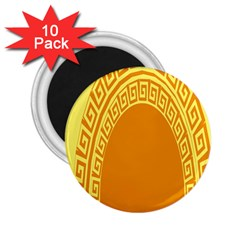 Greek Ornament Shapes Large Yellow Orange 2 25  Magnets (10 Pack)  by Mariart