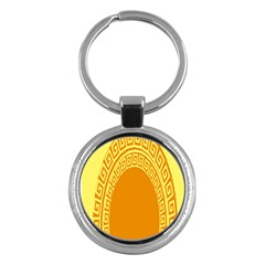 Greek Ornament Shapes Large Yellow Orange Key Chains (round)  by Mariart