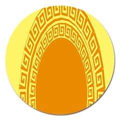 Greek Ornament Shapes Large Yellow Orange Magnet 5  (round) by Mariart