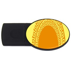 Greek Ornament Shapes Large Yellow Orange Usb Flash Drive Oval (4 Gb) by Mariart