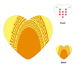 Greek Ornament Shapes Large Yellow Orange Playing Cards (heart)  by Mariart