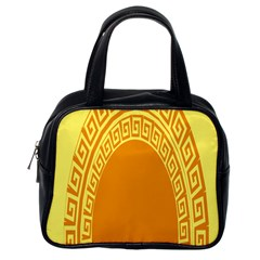 Greek Ornament Shapes Large Yellow Orange Classic Handbags (one Side) by Mariart