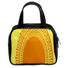 Greek Ornament Shapes Large Yellow Orange Classic Handbags (2 Sides) by Mariart