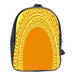 Greek Ornament Shapes Large Yellow Orange School Bags(large)