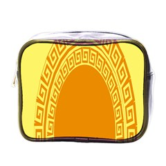 Greek Ornament Shapes Large Yellow Orange Mini Toiletries Bags by Mariart