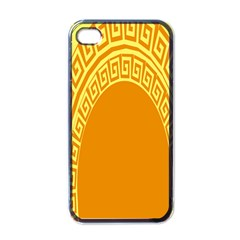 Greek Ornament Shapes Large Yellow Orange Apple Iphone 4 Case (black) by Mariart