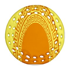 Greek Ornament Shapes Large Yellow Orange Ornament (round Filigree) by Mariart