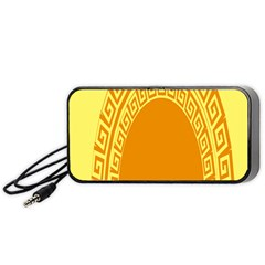 Greek Ornament Shapes Large Yellow Orange Portable Speaker (black) by Mariart