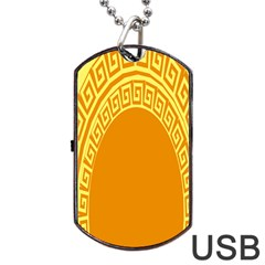 Greek Ornament Shapes Large Yellow Orange Dog Tag Usb Flash (two Sides) by Mariart