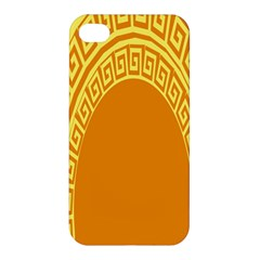 Greek Ornament Shapes Large Yellow Orange Apple Iphone 4/4s Premium Hardshell Case by Mariart