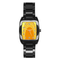 Greek Ornament Shapes Large Yellow Orange Stainless Steel Barrel Watch by Mariart