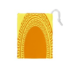 Greek Ornament Shapes Large Yellow Orange Drawstring Pouches (medium)  by Mariart
