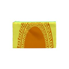 Greek Ornament Shapes Large Yellow Orange Cosmetic Bag (xs) by Mariart