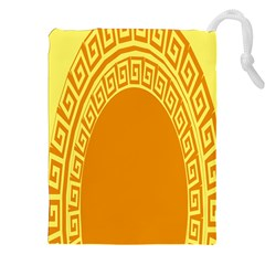 Greek Ornament Shapes Large Yellow Orange Drawstring Pouches (xxl) by Mariart