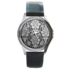 Flower Floral Grey Black Leaf Round Metal Watch by Mariart