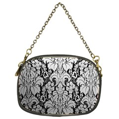Flower Floral Grey Black Leaf Chain Purses (one Side)