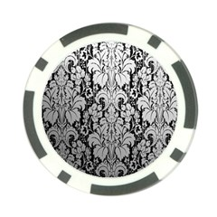 Flower Floral Grey Black Leaf Poker Chip Card Guard (10 Pack) by Mariart