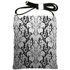 Flower Floral Grey Black Leaf Shoulder Sling Bags by Mariart