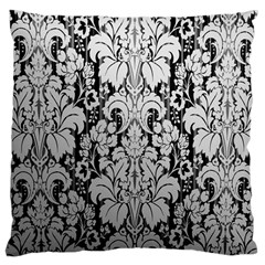 Flower Floral Grey Black Leaf Large Cushion Case (two Sides) by Mariart
