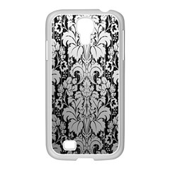 Flower Floral Grey Black Leaf Samsung Galaxy S4 I9500/ I9505 Case (white) by Mariart