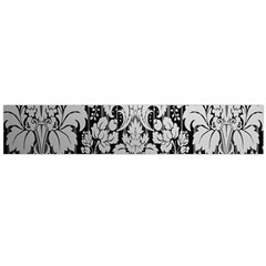 Flower Floral Grey Black Leaf Flano Scarf (large) by Mariart