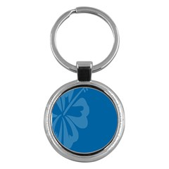 Hibiscus Sakura Classic Blue Key Chains (round)  by Mariart