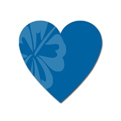 Hibiscus Sakura Classic Blue Heart Magnet by Mariart