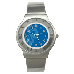 Hibiscus Sakura Classic Blue Stainless Steel Watch by Mariart