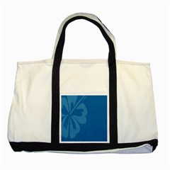 Hibiscus Sakura Classic Blue Two Tone Tote Bag by Mariart