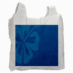 Hibiscus Sakura Classic Blue Recycle Bag (two Side)  by Mariart