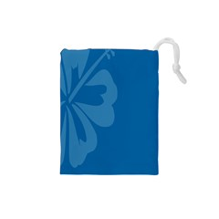 Hibiscus Sakura Classic Blue Drawstring Pouches (small)  by Mariart