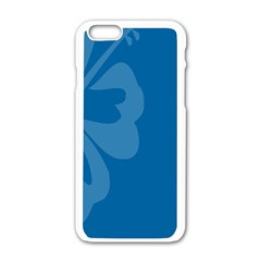 Hibiscus Sakura Classic Blue Apple Iphone 6/6s White Enamel Case by Mariart