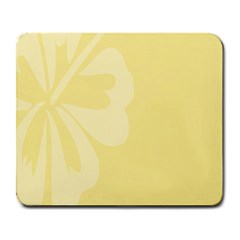 Hibiscus Custard Yellow Large Mousepads by Mariart