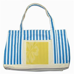 Hibiscus Custard Yellow Striped Blue Tote Bag by Mariart