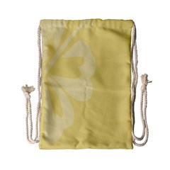 Hibiscus Custard Yellow Drawstring Bag (small) by Mariart