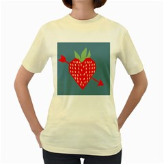 Fruit Red Strawberry Women s Yellow T Shirt by Mariart