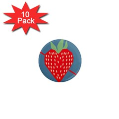 Fruit Red Strawberry 1  Mini Magnet (10 Pack)  by Mariart
