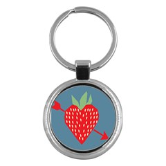 Fruit Red Strawberry Key Chains (round)  by Mariart