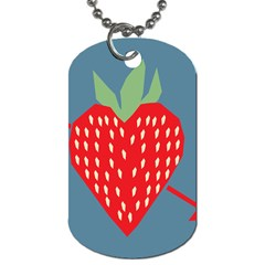 Fruit Red Strawberry Dog Tag (one Side) by Mariart