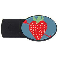 Fruit Red Strawberry Usb Flash Drive Oval (2 Gb) by Mariart